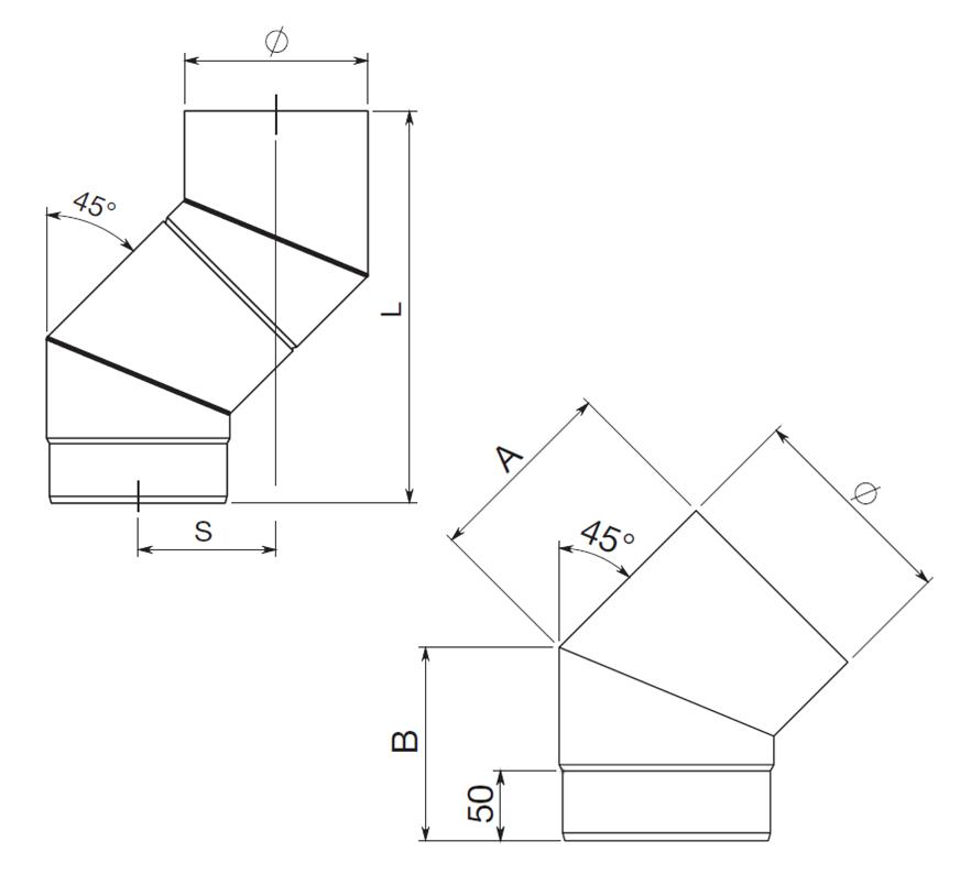 coude 45 simple paroi diam tre 150mm r f conduits de fum e tuyau simple paroi tuyau. Black Bedroom Furniture Sets. Home Design Ideas