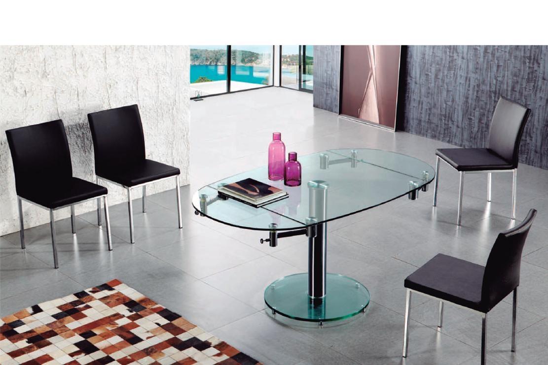 Table en verre ovale r f mobilier mobilier de bureau espace po le scandinave - Table de bureau en verre ...